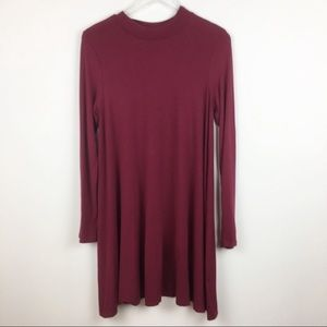 Modcloth | Sweet Claire Maroon Long Sleeve Dress